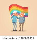 old gay couple. man vector.... | Shutterstock .eps vector #1105073459