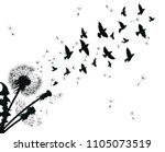 silhouette of a dandelion with... | Shutterstock .eps vector #1105073519