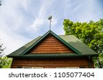 satellite dish radar on cabin... | Shutterstock . vector #1105077404