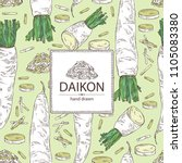background with daikon  root... | Shutterstock .eps vector #1105083380