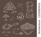 collection of salt  spoon with... | Shutterstock .eps vector #1105083416