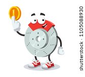 cartoon car brake mascot keeps... | Shutterstock .eps vector #1105088930