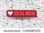social media banners with hand... | Shutterstock .eps vector #1105089353