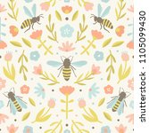 cute flowers and bees pattern | Shutterstock .eps vector #1105099430