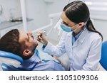 portrait of female doctor... | Shutterstock . vector #1105109306