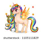 3d pony unicorn character with... | Shutterstock .eps vector #1105111829