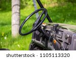 Small photo of Steering wheel golf cart offroad vehicle atv all terrain steer shift outside cockpit seat front