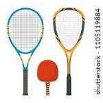 set of tennis rackets and... | Shutterstock .eps vector #1105119884