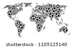 football world map. vector... | Shutterstock .eps vector #1105125140