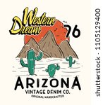 western style tee print vector... | Shutterstock .eps vector #1105129400