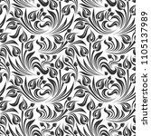vector seamless black and white ... | Shutterstock .eps vector #1105137989