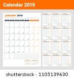 calendar template for 2019 year.... | Shutterstock .eps vector #1105139630