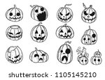 halloween pumpkin by hand... | Shutterstock .eps vector #1105145210
