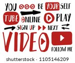 you tube player stickers for... | Shutterstock .eps vector #1105146209