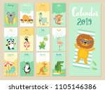 calendar 2019. cute monthly... | Shutterstock .eps vector #1105146386
