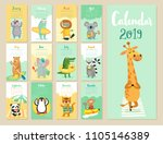 calendar 2019. cute monthly... | Shutterstock .eps vector #1105146389