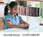 asain kid using laptop in... | Shutterstock . vector #1105148630