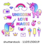 stickers set with unicorn ... | Shutterstock .eps vector #1105150019