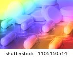 Small photo of Pile of pills in color fantasy with psychedelic colors showing confusion or disorientation due to drugs with copy space