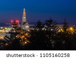 evening view of famous... | Shutterstock . vector #1105160258