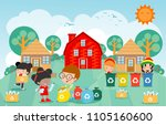 children collect rubbish for... | Shutterstock .eps vector #1105160600