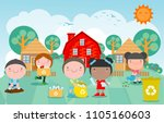 children collect rubbish for... | Shutterstock .eps vector #1105160603