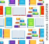 seamless pattern with books.... | Shutterstock .eps vector #1105169558