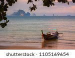 traditional long tail boat at... | Shutterstock . vector #1105169654
