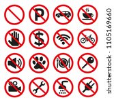 prohibition signs set safety on ... | Shutterstock .eps vector #1105169660