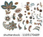 set of beautiful indian paisley | Shutterstock .eps vector #1105170689
