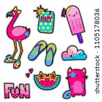 girlish sewn patch badges.... | Shutterstock .eps vector #1105178036