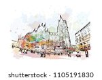 cologne cathedral is a catholic ... | Shutterstock .eps vector #1105191830