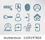 authorization line icons set ...