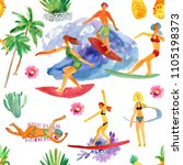 girls surfers with the surf... | Shutterstock . vector #1105198373