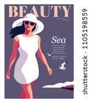fashion girl wearing big white... | Shutterstock .eps vector #1105198559