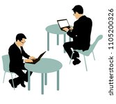 black silhouette two men... | Shutterstock .eps vector #1105200326