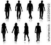 silhouette group of people... | Shutterstock .eps vector #1105200410