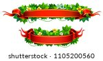 red tape with green tropical... | Shutterstock .eps vector #1105200560