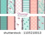 set of 12 seamless pattern with ... | Shutterstock .eps vector #1105210013