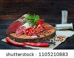 sliced cured sausage and...   Shutterstock . vector #1105210883