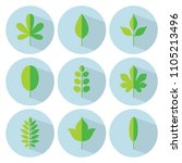 green leaf flat icon set.... | Shutterstock .eps vector #1105213496