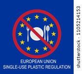 eu ban on plastic cutlery to... | Shutterstock .eps vector #1105214153