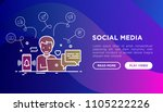 smm manager is working with... | Shutterstock .eps vector #1105222226