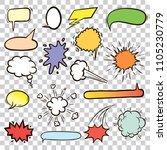 flat color speech bubbles. hand ... | Shutterstock .eps vector #1105230779