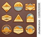 set of nine mountain travel... | Shutterstock .eps vector #1105232030