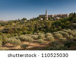 village of banne in ardeche in... | Shutterstock . vector #110525030
