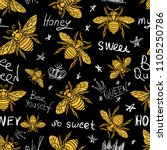 hohey bee golden embroidery... | Shutterstock .eps vector #1105250786