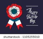 bastille day. badge and ribbon. ... | Shutterstock .eps vector #1105255010