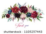 Stock photo watercolor floral illustration flowers burgundy bouquet for wedding stationary greetings 1105257443