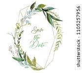 watercolor floral illustration  ... | Shutterstock . vector #1105257956